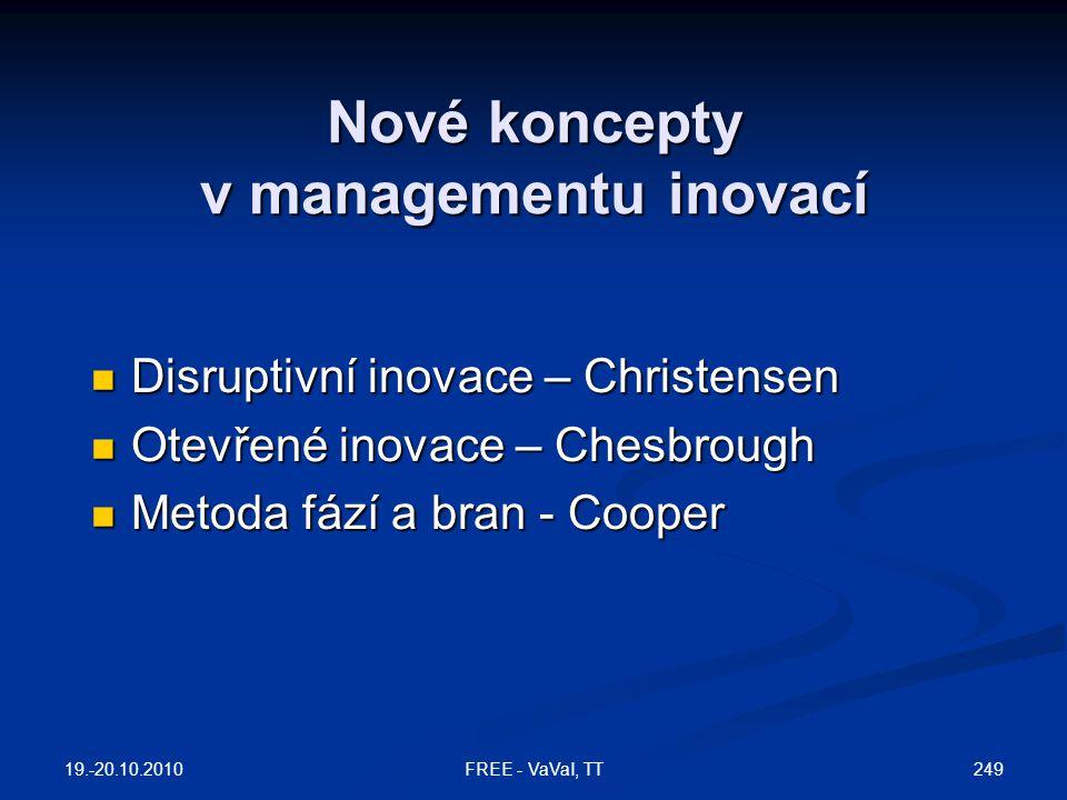 Nové koncepty v managementu inovací  Disruptivní inovace – Christensen  Otevřené inovace – Chesbrough  Metoda fází a bran - Cooper 19.-20.10.2010 249FREE - VaVaI, TT