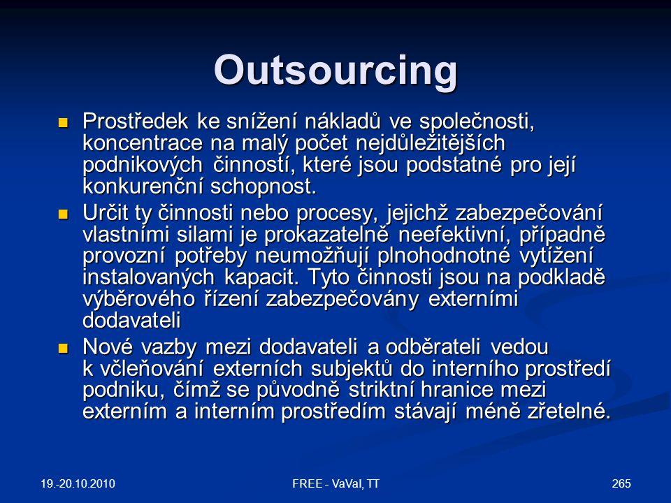 Outsourcing  Prostředek ke snížení nákladů ve společnosti, koncentrace na malý počet nejdůležitějších podnikových činností, které jsou podstatné pro její konkurenční schopnost.