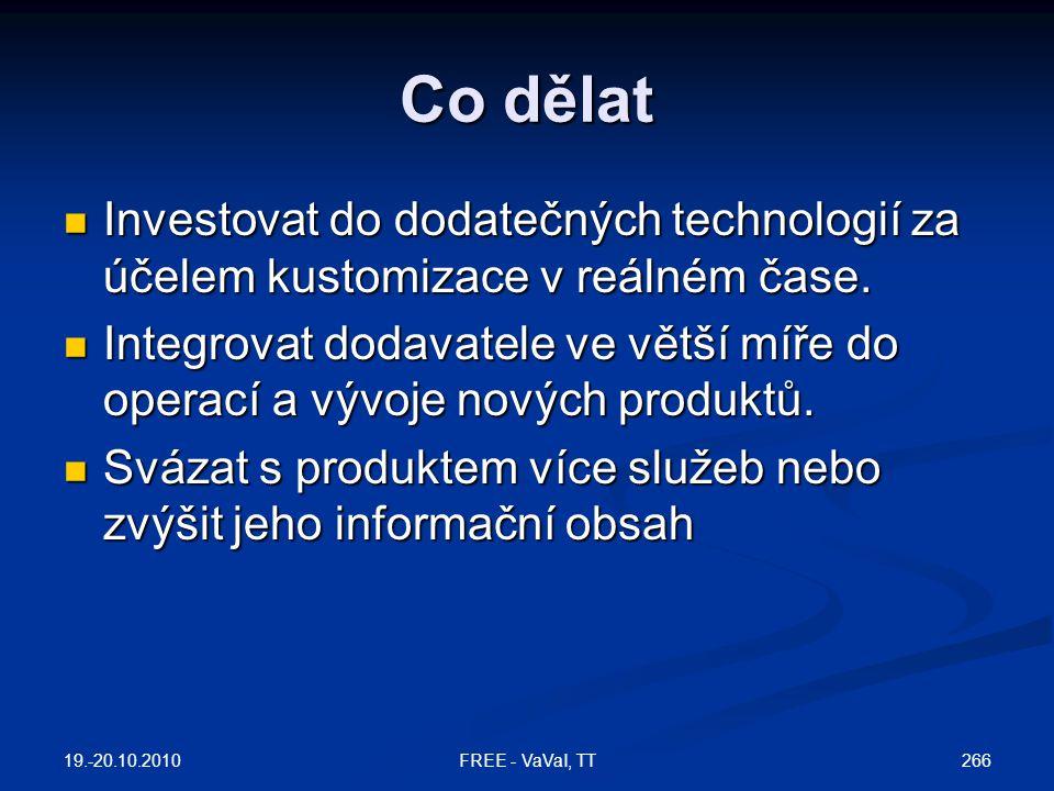 Co dělat  Investovat do dodatečných technologií za účelem kustomizace v reálném čase.