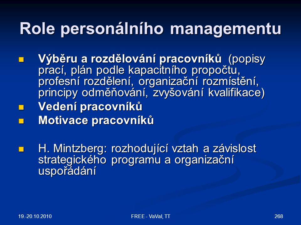 Role personálního managementu  Výběru a rozdělování pracovníků (popisy prací, plán podle kapacitního propočtu, profesní rozdělení, organizační rozmístění, principy odměňování, zvyšování kvalifikace)  Vedení pracovníků  Motivace pracovníků  H.