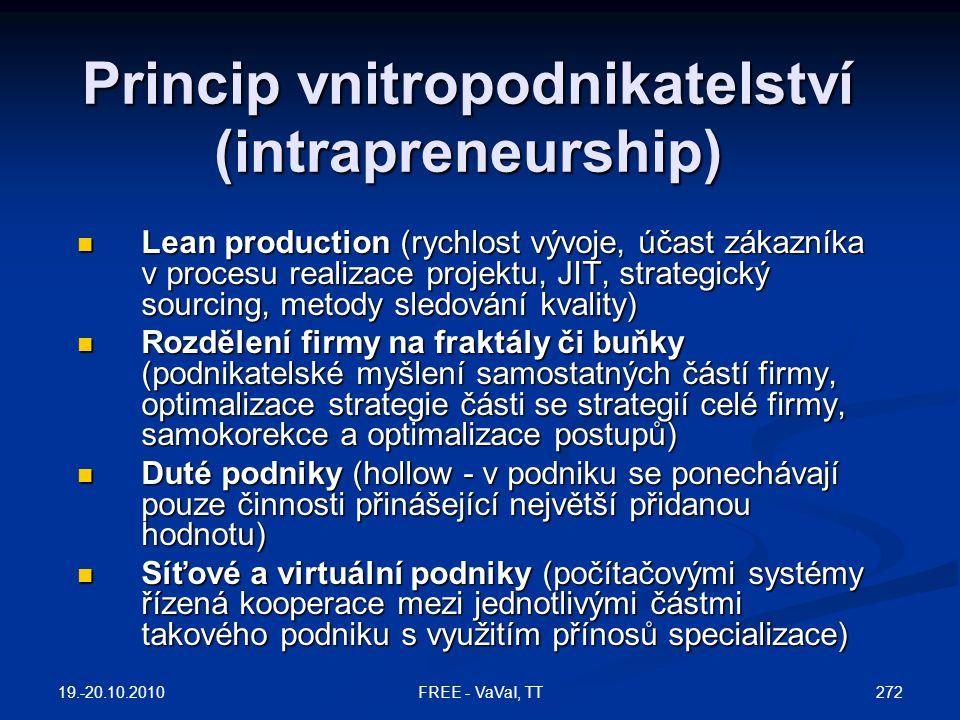 Princip vnitropodnikatelství (intrapreneurship)  Lean production (rychlost vývoje, účast zákazníka v procesu realizace projektu, JIT, strategický sourcing, metody sledování kvality)  Rozdělení firmy na fraktály či buňky (podnikatelské myšlení samostatných částí firmy, optimalizace strategie části se strategií celé firmy, samokorekce a optimalizace postupů)  Duté podniky (hollow - v podniku se ponechávají pouze činnosti přinášející největší přidanou hodnotu)  Síťové a virtuální podniky (počítačovými systémy řízená kooperace mezi jednotlivými částmi takového podniku s využitím přínosů specializace) 19.-20.10.2010 272FREE - VaVaI, TT