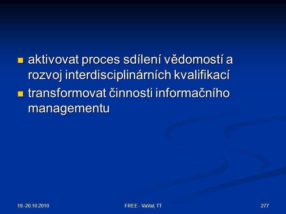 aktivovat proces sdílení vědomostí a rozvoj interdisciplinárních kvalifikací  transformovat činnosti informačního managementu 19.-20.10.2010 277FREE - VaVaI, TT