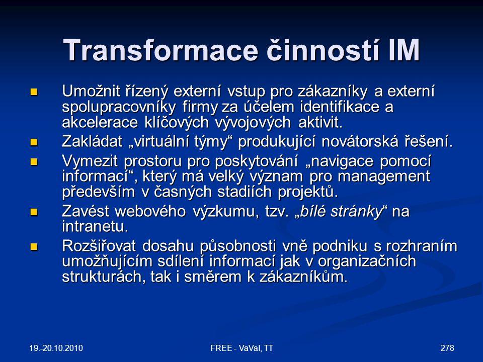 Transformace činností IM  Umožnit řízený externí vstup pro zákazníky a externí spolupracovníky firmy za účelem identifikace a akcelerace klíčových vývojových aktivit.
