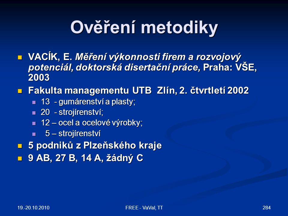 Ověření metodiky  VACÍK, E.