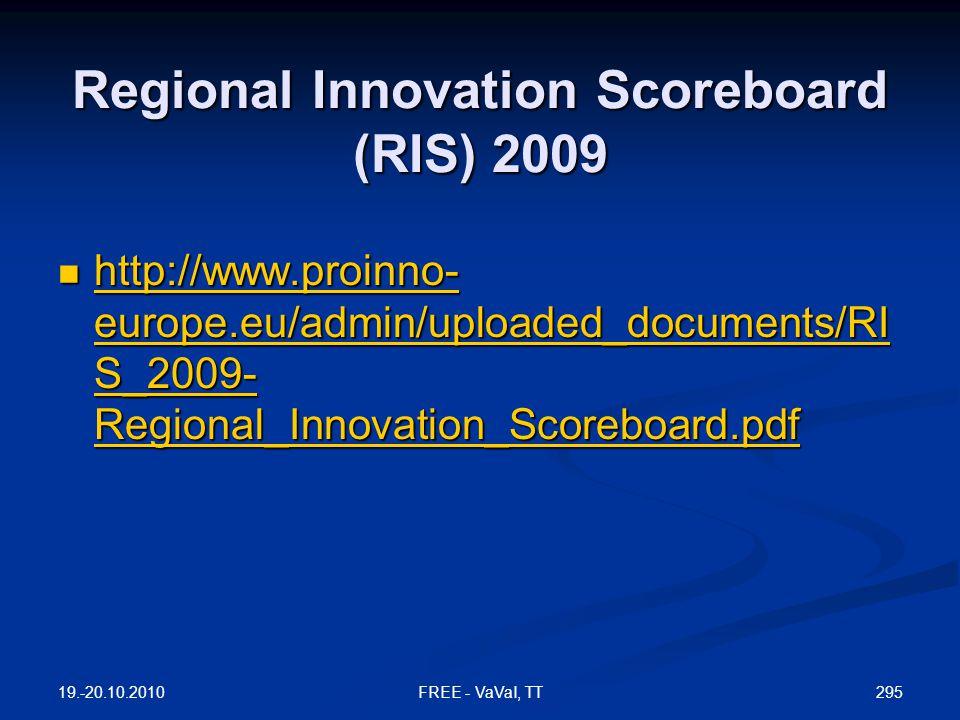 Regional Innovation Scoreboard (RIS) 2009  http://www.proinno- europe.eu/admin/uploaded_documents/RI S_2009- Regional_Innovation_Scoreboard.pdf http://www.proinno- europe.eu/admin/uploaded_documents/RI S_2009- Regional_Innovation_Scoreboard.pdf http://www.proinno- europe.eu/admin/uploaded_documents/RI S_2009- Regional_Innovation_Scoreboard.pdf 19.-20.10.2010 295FREE - VaVaI, TT
