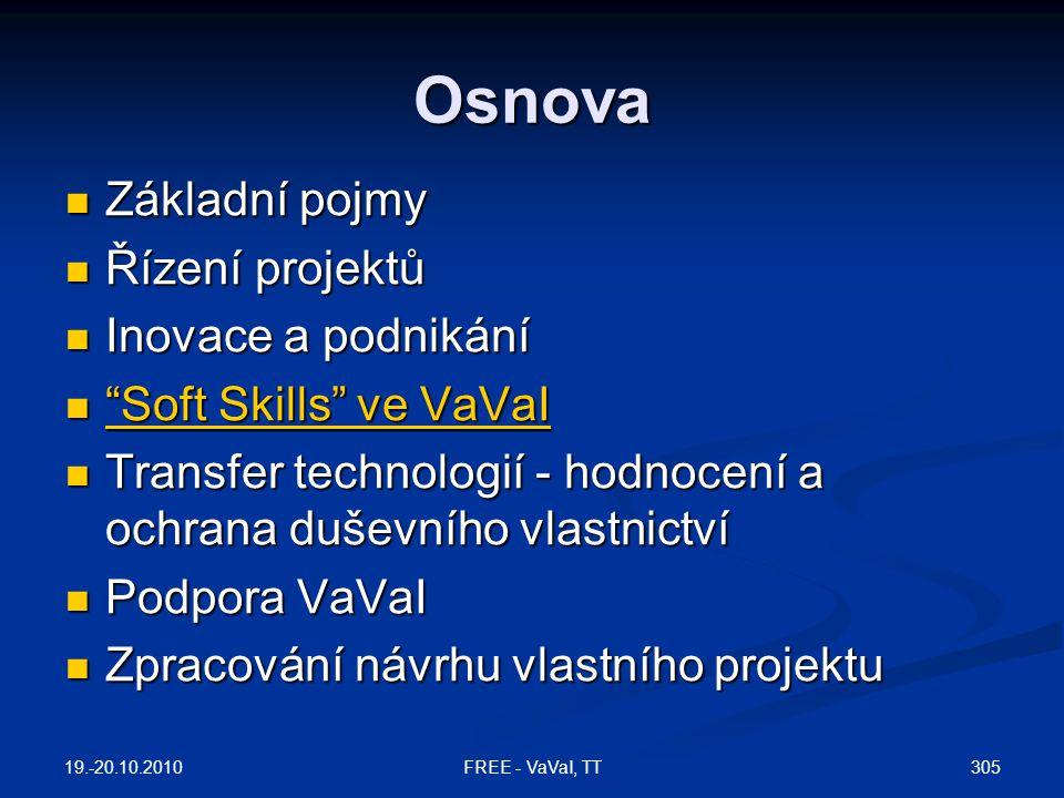 Osnova  Základní pojmy  Řízení projektů  Inovace a podnikání  Soft Skills ve VaVaI Soft Skills ve VaVaI Soft Skills ve VaVaI  Transfer technologií - hodnocení a ochrana duševního vlastnictví  Podpora VaVaI  Zpracování návrhu vlastního projektu 19.-20.10.2010 305FREE - VaVaI, TT