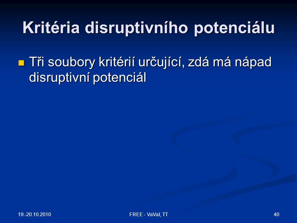 Kritéria disruptivního potenciálu  Tři soubory kritérií určující, zdá má nápad disruptivní potenciál 19.-20.10.2010 40FREE - VaVaI, TT