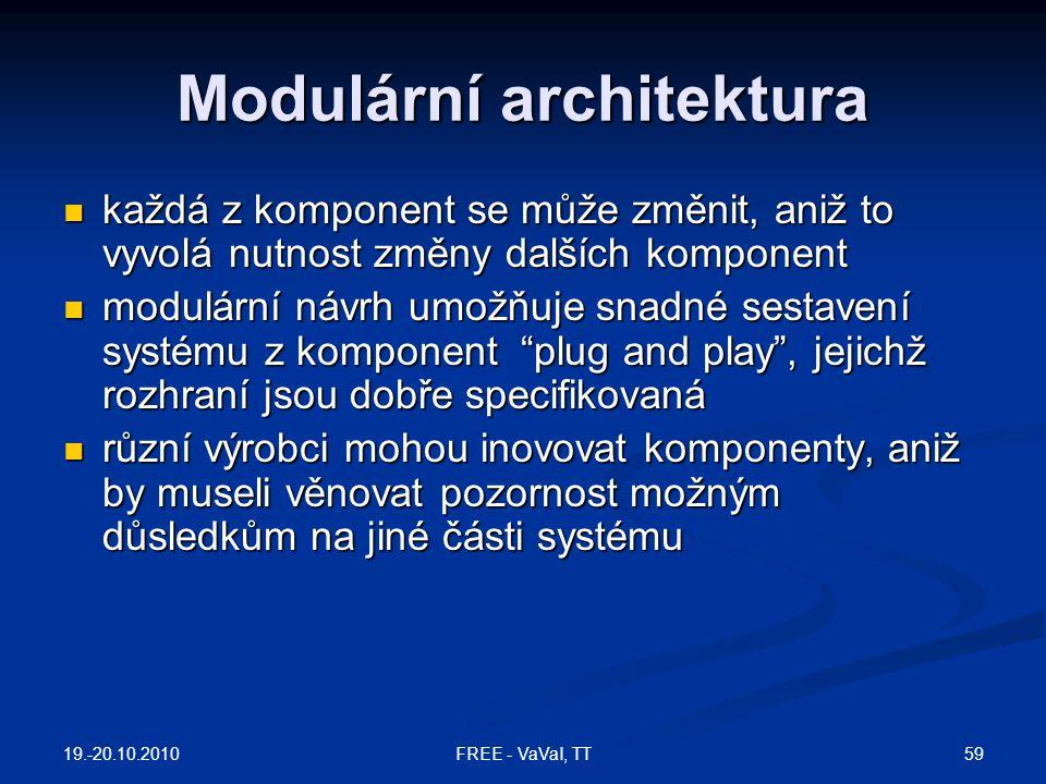 Modulární architektura  každá z komponent se může změnit, aniž to vyvolá nutnost změny dalších komponent  modulární návrh umožňuje snadné sestavení systému z komponent plug and play , jejichž rozhraní jsou dobře specifikovaná  různí výrobci mohou inovovat komponenty, aniž by museli věnovat pozornost možným důsledkům na jiné části systému 19.-20.10.2010 59FREE - VaVaI, TT