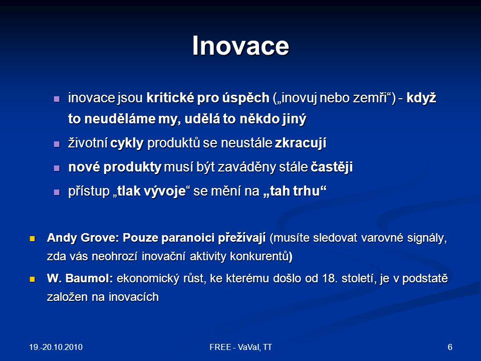 """Co je inovace – 4P  inovace: nové produkty a procesy a významné (technologické) změny produktů a procesů; 4P:  inovace produktu: nové produkty uvedené na trh: nový model auta, nový balíček bankovních služeb  inovace procesu: změna procesů produkce a distribuce: reorganizace, změna způsobu výroby, změna administrativních procesů  inovace pozice (marketingová): změna kontextu (trhu), kam je produkt uveden:  inovace paradigmatu: změna rámce, způsobu myšlení: Ford – změna obchodního modelu (""""auto pro každého ); PC – počítač do domácnosti 19.-20.10.2010 7FREE - VaVaI, TT"""