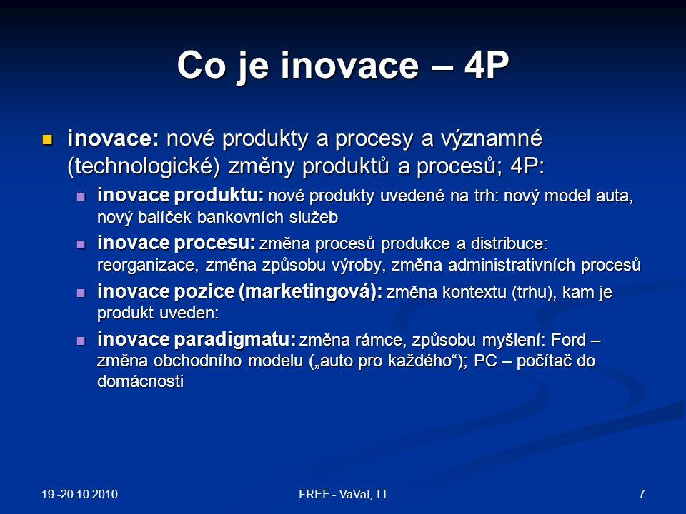 OTEVŘENÁ INOVACE  Chesbrough, H., Open Innovation , Harvard Business School Publishing, Boston MA, 2003  uzavřená inovace – musí být pod kontrolou  otevřená inovace  firma využívá jak externí, tak interní nápady a cesty na trh  interní nápady lze licencovat, aby přinesly dodatečný zisk 19.-20.10.2010 48FREE - VaVaI, TT