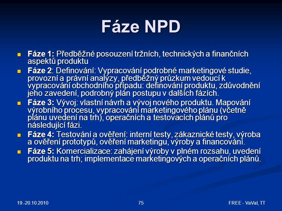 19.-20.10.2010 FREE - VaVaI, TT75 Fáze NPD  Fáze 1: Předběžné posouzení tržních, technických a finančních aspektů produktu  Fáze 2: Definování: Vypracování podrobné marketingové studie, provozní a právní analýzy, předběžný průzkum vedoucí k vypracování obchodního případu: definování produktu, zdůvodnění jeho zavedení, podrobný plán postupu v dalších fázích.