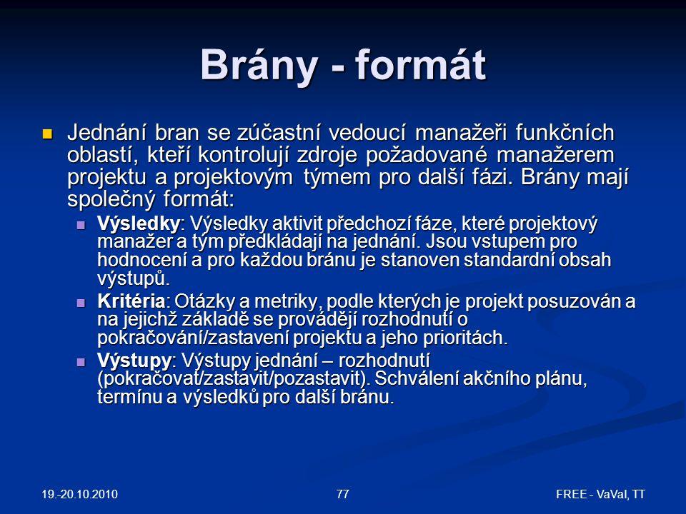 19.-20.10.2010 FREE - VaVaI, TT77 Brány - formát  Jednání bran se zúčastní vedoucí manažeři funkčních oblastí, kteří kontrolují zdroje požadované manažerem projektu a projektovým týmem pro další fázi.