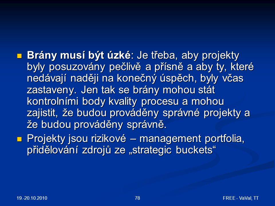19.-20.10.2010 FREE - VaVaI, TT78  Brány musí být úzké: Je třeba, aby projekty byly posuzovány pečlivě a přísně a aby ty, které nedávají naději na konečný úspěch, byly včas zastaveny.