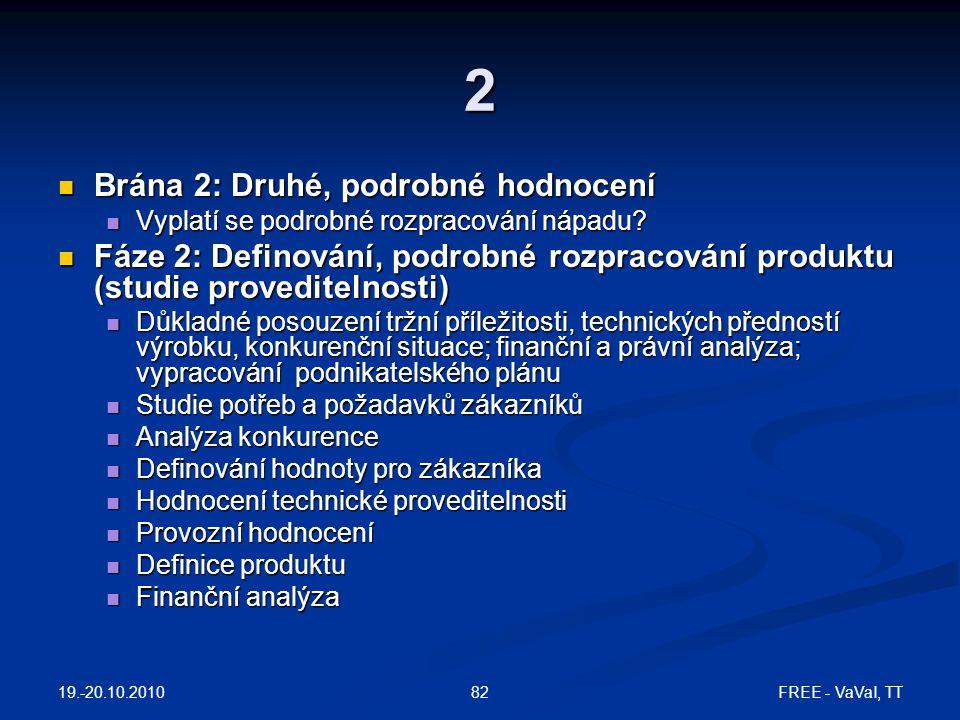 19.-20.10.2010 FREE - VaVaI, TT82 2  Brána 2: Druhé, podrobné hodnocení  Vyplatí se podrobné rozpracování nápadu.