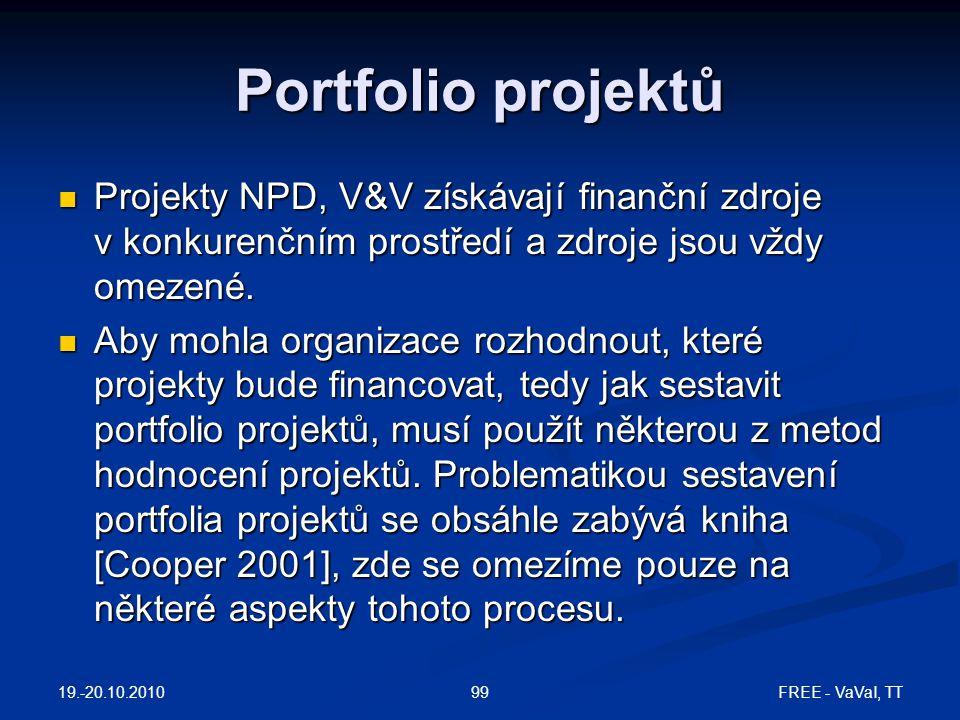 19.-20.10.2010 FREE - VaVaI, TT99 Portfolio projektů  Projekty NPD, V&V získávají finanční zdroje v konkurenčním prostředí a zdroje jsou vždy omezené.