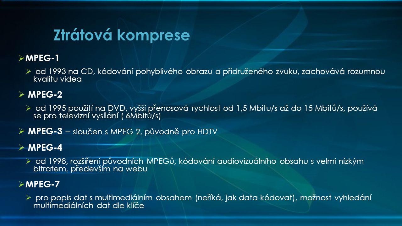  MPEG-1  od 1993 na CD, kódování pohyblivého obrazu a přidruženého zvuku, zachovává rozumnou kvalitu videa  MPEG-2  od 1995 použití na DVD, vyšší přenosová rychlost od 1,5 Mbitu/s až do 15 Mbitů/s, používá se pro televizní vysílání ( 6Mbitů/s)  MPEG-3 – sloučen s MPEG 2, původně pro HDTV  MPEG-4  od 1998, rozšíření původních MPEGů, kódování audiovizuálního obsahu s velmi nízkým bitratem, především na webu  MPEG-7  pro popis dat s multimediálním obsahem (neříká, jak data kódovat), možnost vyhledání multimediálních dat dle klíče Ztrátová komprese