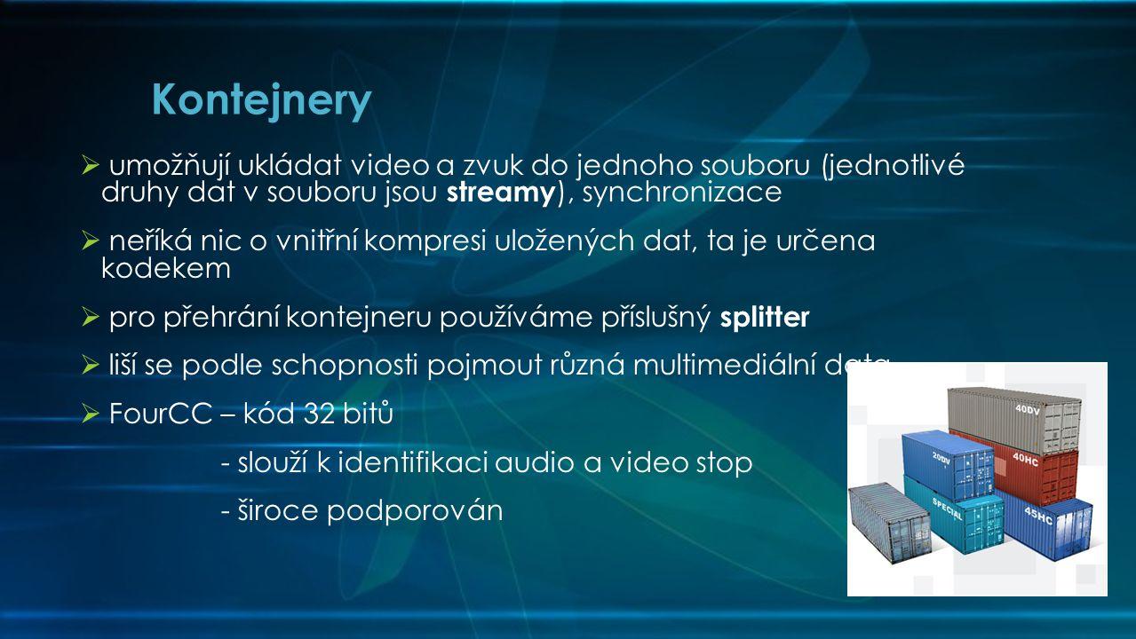  umožňují ukládat video a zvuk do jednoho souboru (jednotlivé druhy dat v souboru jsou streamy ), synchronizace  neříká nic o vnitřní kompresi uložených dat, ta je určena kodekem  pro přehrání kontejneru používáme příslušný splitter  liší se podle schopnosti pojmout různá multimediální data  FourCC – kód 32 bitů - slouží k identifikaci audio a video stop - široce podporován Kontejnery