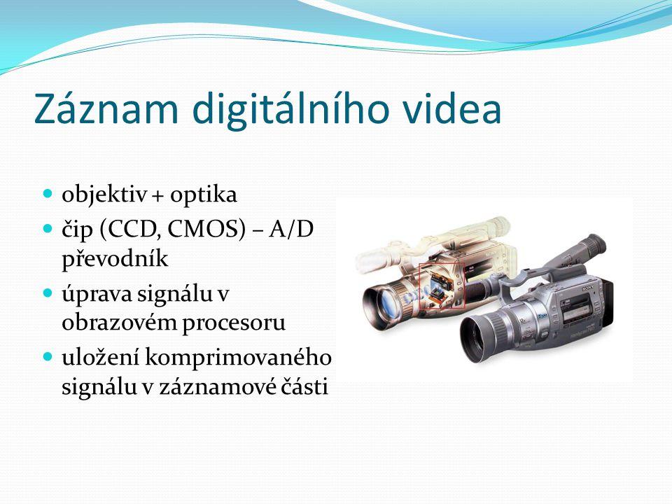 Záznam digitálního videa  objektiv + optika  čip (CCD, CMOS) – A/D převodník  úprava signálu v obrazovém procesoru  uložení komprimovaného signálu