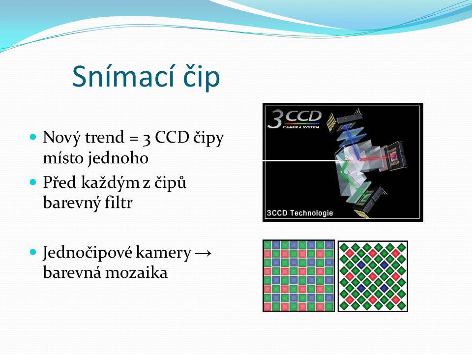 Snímací čip  Nový trend = 3 CCD čipy místo jednoho  Před každým z čipů barevný filtr  Jednočipové kamery → barevná mozaika