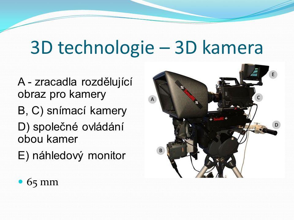 3D technologie – 3D kamera A - zracadla rozdělující obraz pro kamery B, C) snímací kamery D) společné ovládání obou kamer E) náhledový monitor  65 mm