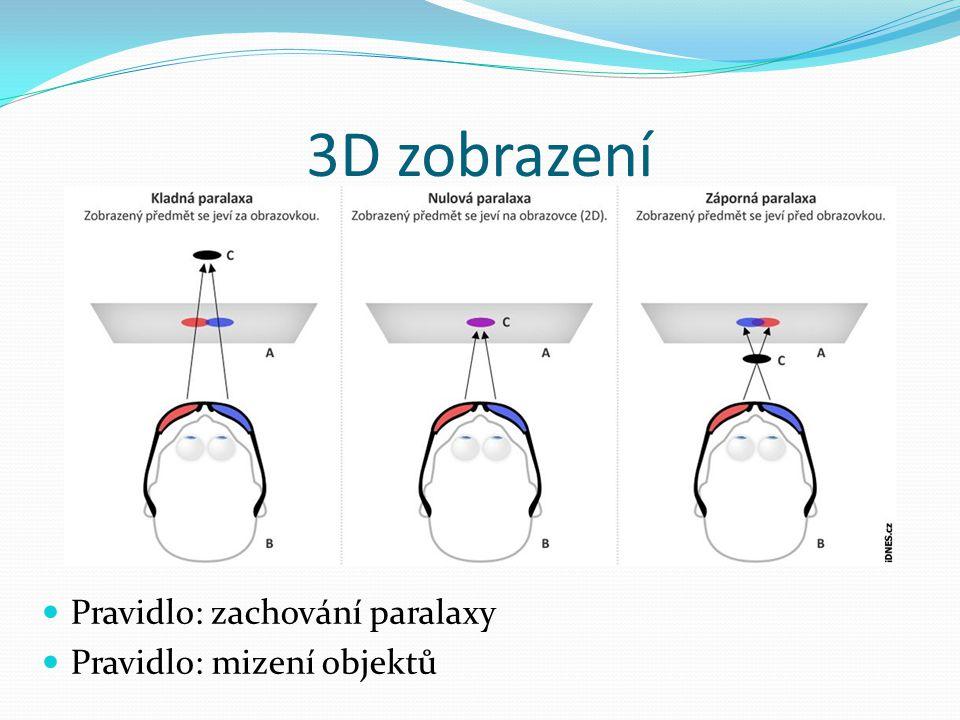 3D zobrazení  Pravidlo: zachování paralaxy  Pravidlo: mizení objektů