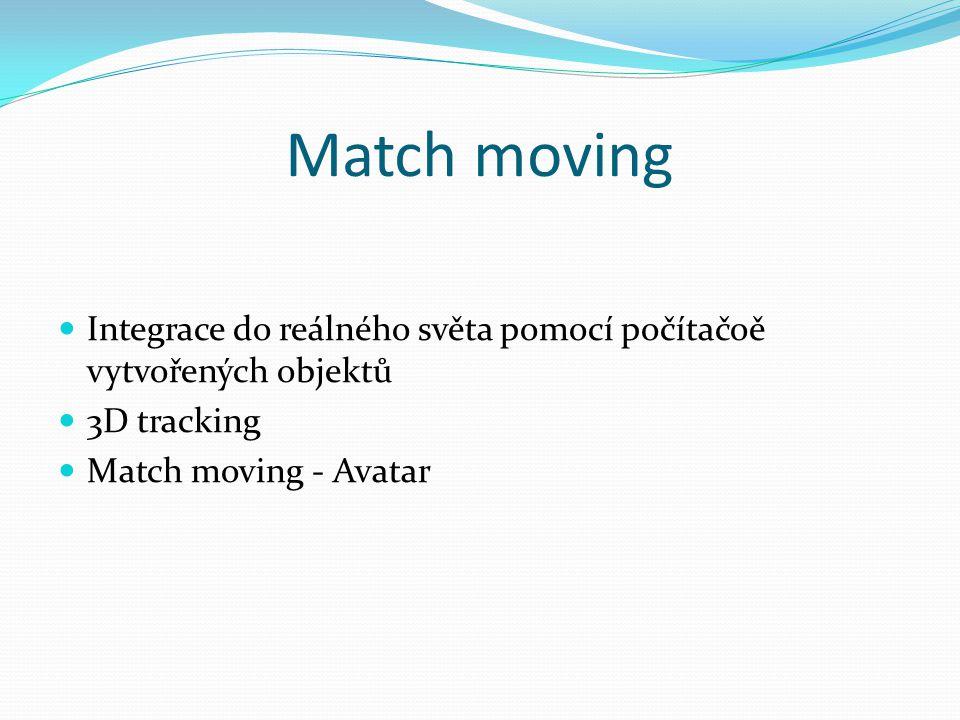 Match moving  Integrace do reálného světa pomocí počítačoě vytvořených objektů  3D tracking  Match moving - Avatar