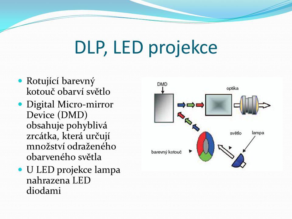 DLP, LED projekce  Rotující barevný kotouč obarví světlo  Digital Micro-mirror Device (DMD) obsahuje pohyblivá zrcátka, která určují množství odraže
