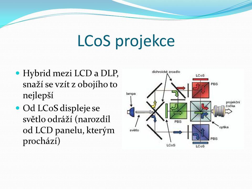 LCoS projekce  Hybrid mezi LCD a DLP, snaží se vzít z obojího to nejlepší  Od LCoS displeje se světlo odráží (narozdíl od LCD panelu, kterým procház