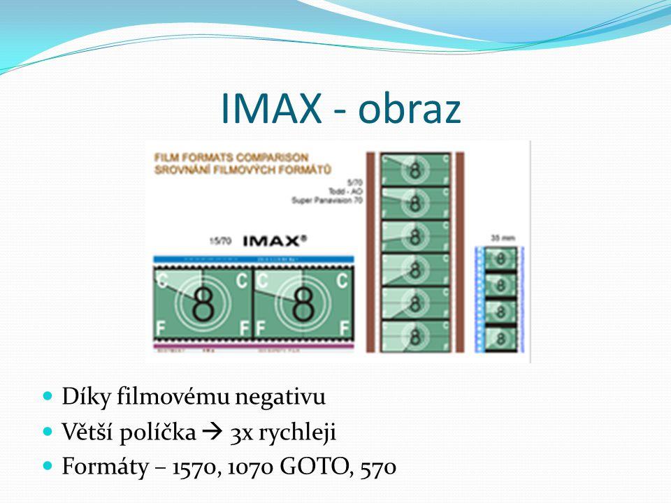 IMAX - obraz  Díky filmovému negativu  Větší políčka  3x rychleji  Formáty – 1570, 1070 GOTO, 570
