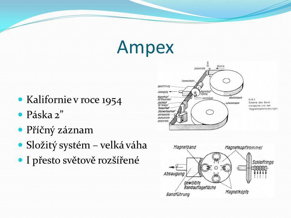"""Ampex  Kalifornie v roce 1954  Páska 2""""  Příčný záznam  Složitý systém – velká váha  I přesto světově rozšířené"""