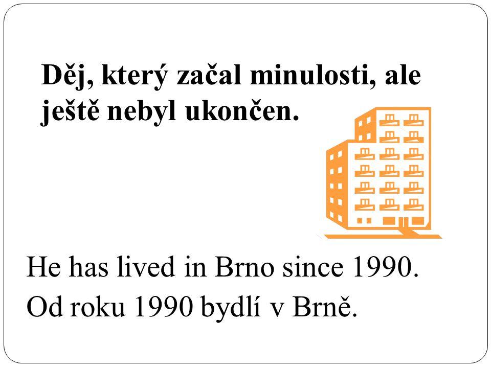 Děj, který začal minulosti, ale ještě nebyl ukončen. He has lived in Brno since 1990. Od roku 1990 bydlí v Brně.