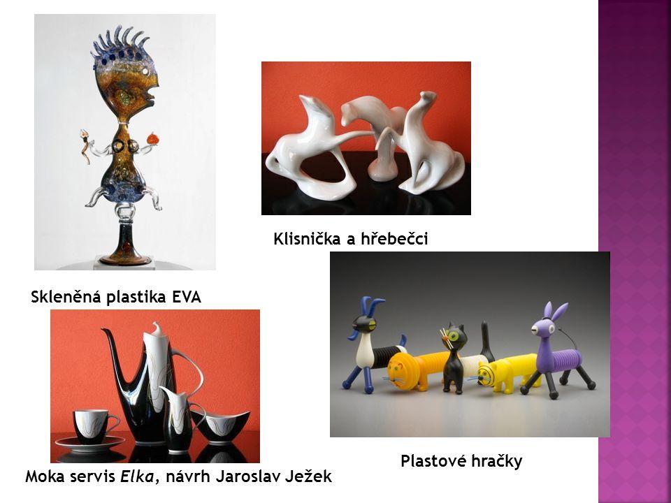 Skleněná plastika EVA Klisnička a hřebečci Plastové hračky Moka servis Elka, návrh Jaroslav Ježek