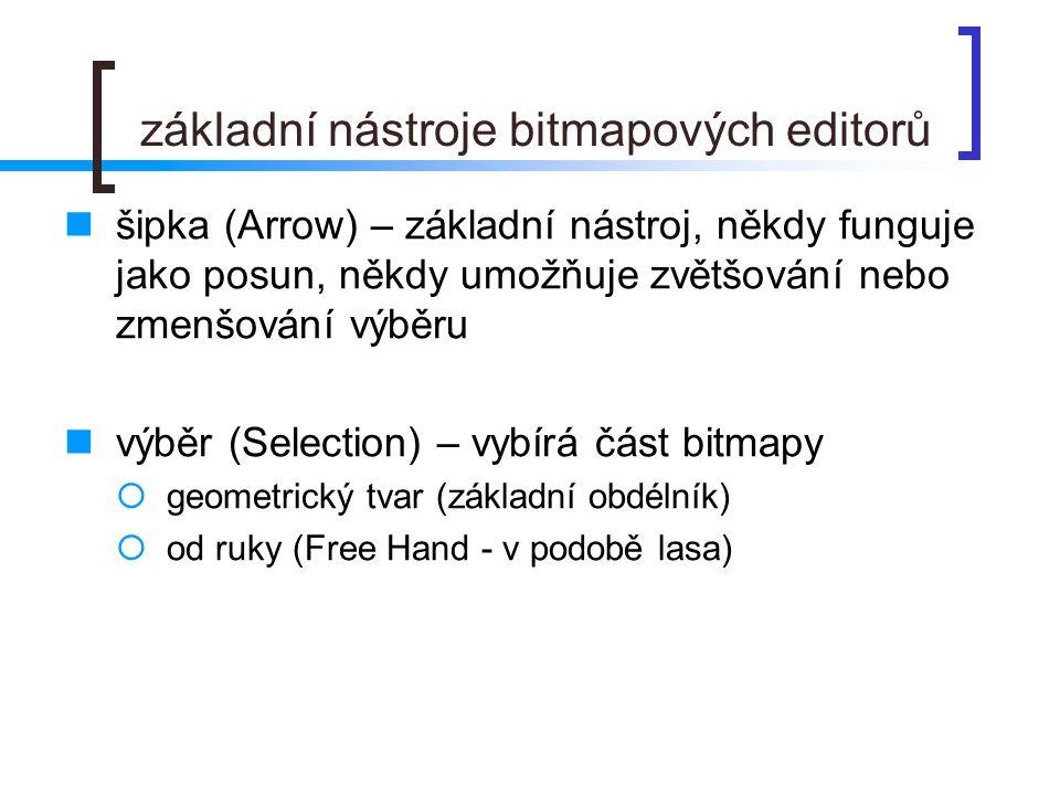 základní nástroje bitmapových editorů  šipka (Arrow) – základní nástroj, někdy funguje jako posun, někdy umožňuje zvětšování nebo zmenšování výběru  výběr (Selection) – vybírá část bitmapy  geometrický tvar (základní obdélník)  od ruky (Free Hand - v podobě lasa)