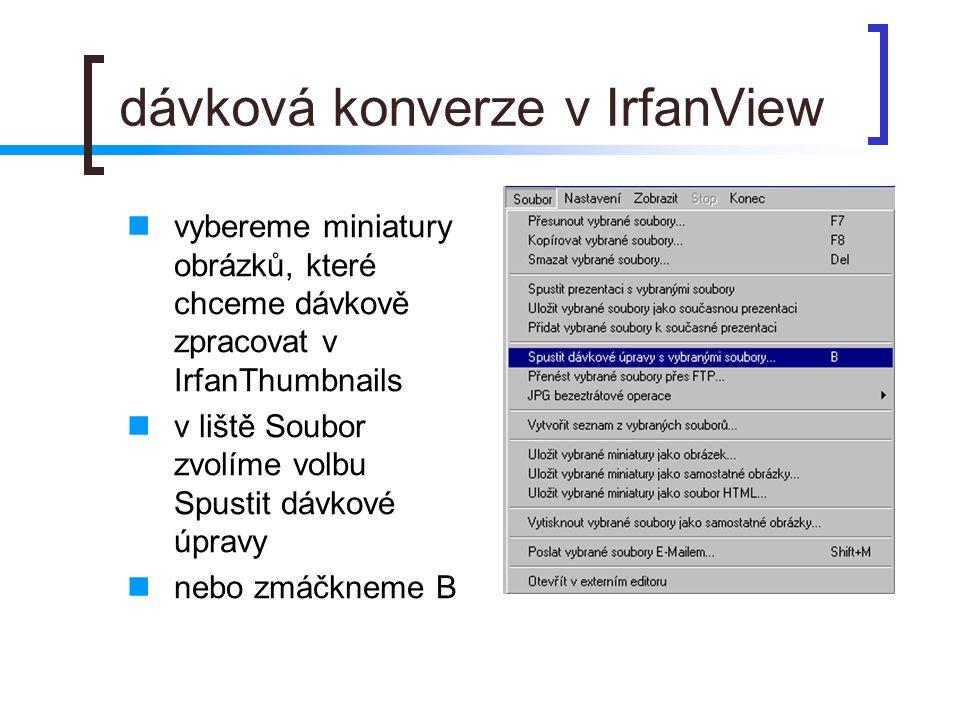 dávková konverze v IrfanView  vybereme miniatury obrázků, které chceme dávkově zpracovat v IrfanThumbnails  v liště Soubor zvolíme volbu Spustit dávkové úpravy  nebo zmáčkneme B