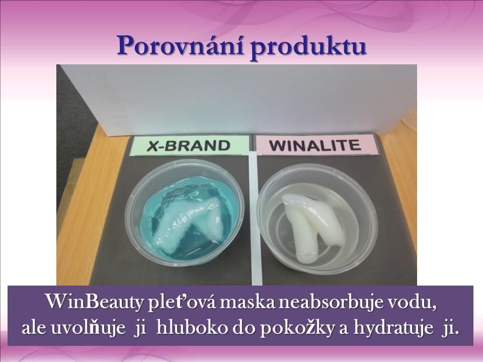 Porovnání produktu WinBeauty ple ť ová maska  neabsorbuje vodu, ale uvol ň uje ji hluboko do poko ž ky a hydratuje ji.