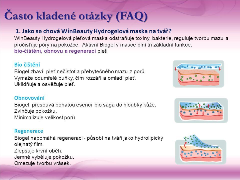 1. Jako se chová WinBeauty Hydrogelová maska na tvář? WinBeauty Hydrogelová pleťová maska  odstraňuje toxiny, bakterie, reguluje tvorbu mazu a pročis