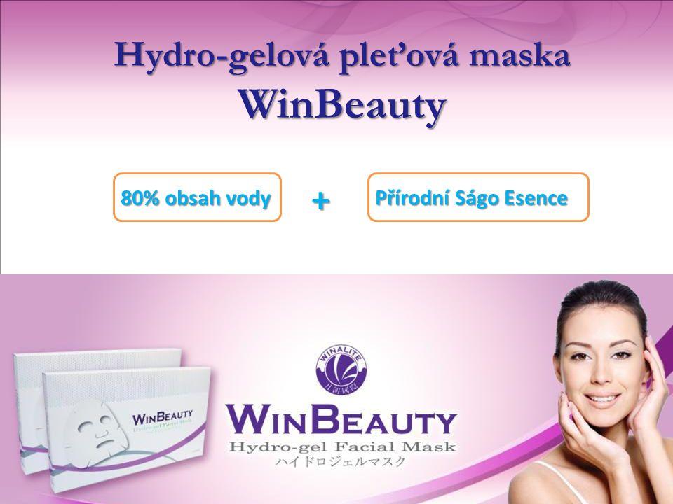 + 80% obsah vody Hydro-gelová pleťová maska WinBeauty Přírodní Ságo Esence