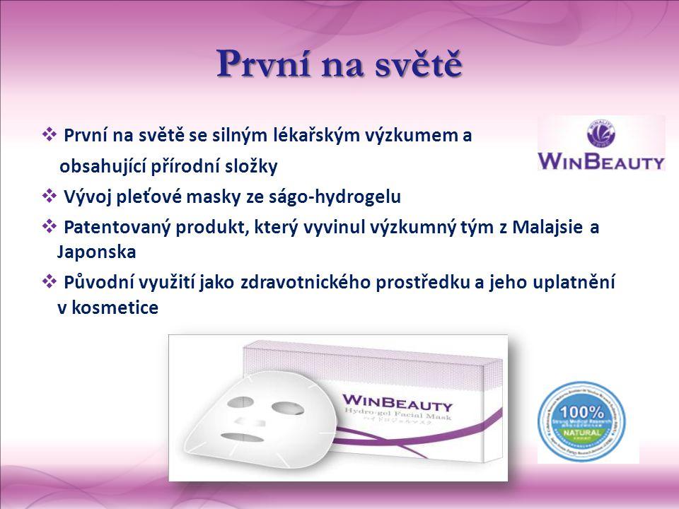 První na světě  První na světě se silným lékařským výzkumem a obsahující přírodní složky  Vývoj pleťové masky ze ságo-hydrogelu  Patentovaný produkt, který vyvinul výzkumný tým z Malajsie a Japonska  Původní využití jako zdravotnického prostředku a jeho uplatnění v kosmetice