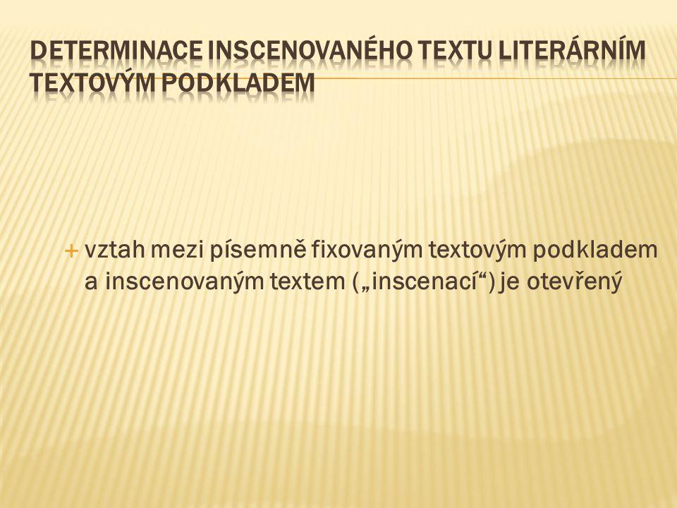 """ vztah mezi písemně fixovaným textovým podkladem a inscenovaným textem (""""inscenací ) je otevřený"""