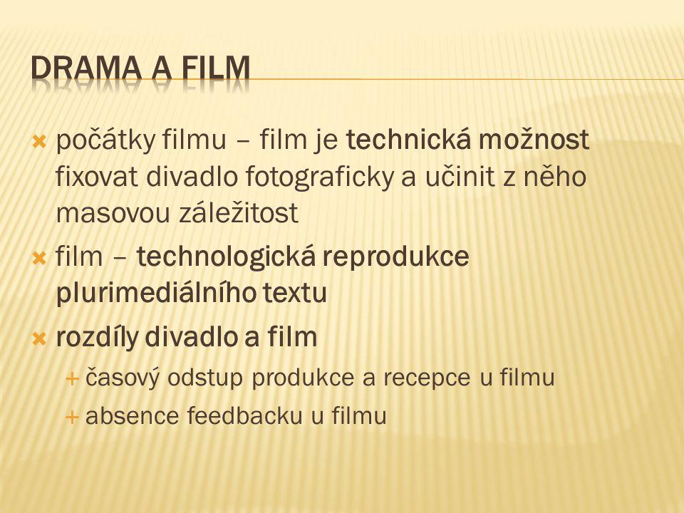  počátky filmu – film je technická možnost fixovat divadlo fotograficky a učinit z něho masovou záležitost  film – technologická reprodukce plurimediálního textu  rozdíly divadlo a film  časový odstup produkce a recepce u filmu  absence feedbacku u filmu