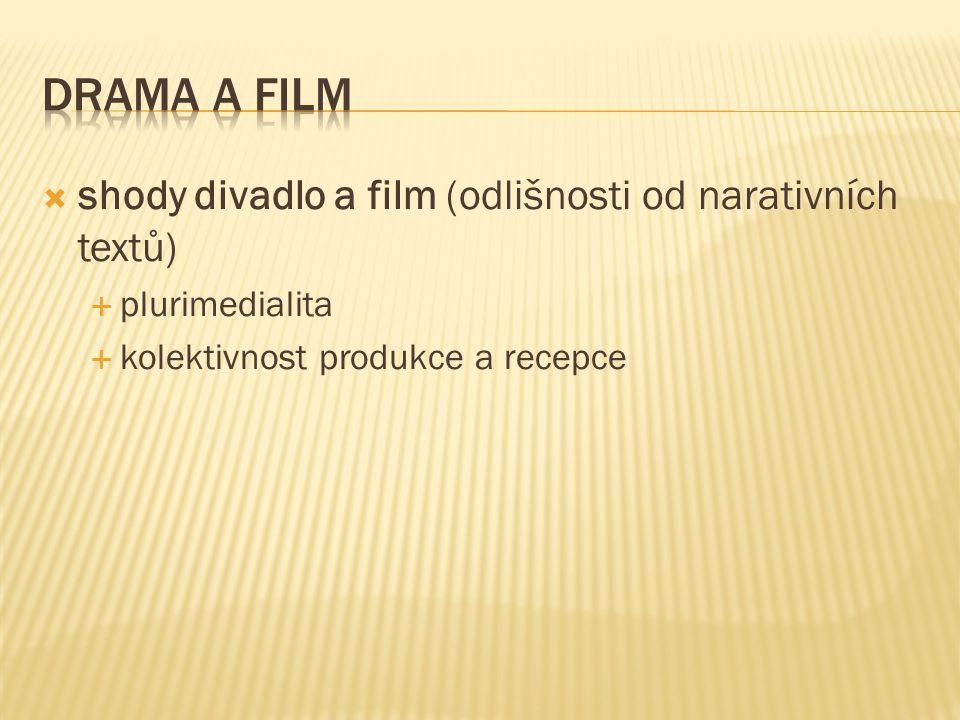  shody divadlo a film (odlišnosti od narativních textů)  plurimedialita  kolektivnost produkce a recepce