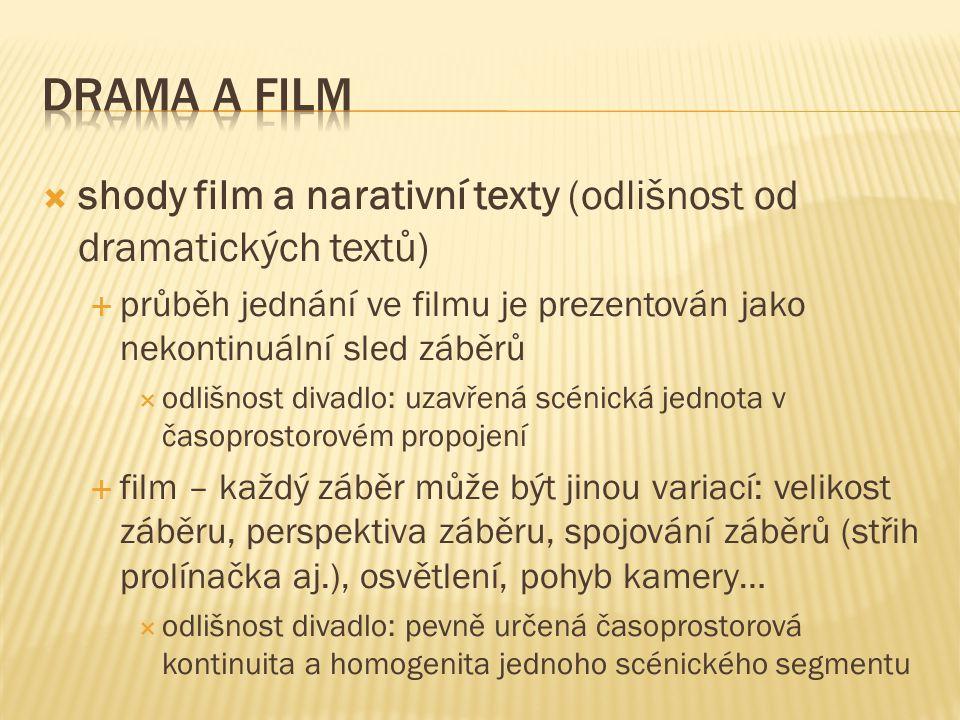  shody film a narativní texty (odlišnost od dramatických textů)  průběh jednání ve filmu je prezentován jako nekontinuální sled záběrů  odlišnost divadlo: uzavřená scénická jednota v časoprostorovém propojení  film – každý záběr může být jinou variací: velikost záběru, perspektiva záběru, spojování záběrů (střih prolínačka aj.), osvětlení, pohyb kamery…  odlišnost divadlo: pevně určená časoprostorová kontinuita a homogenita jednoho scénického segmentu