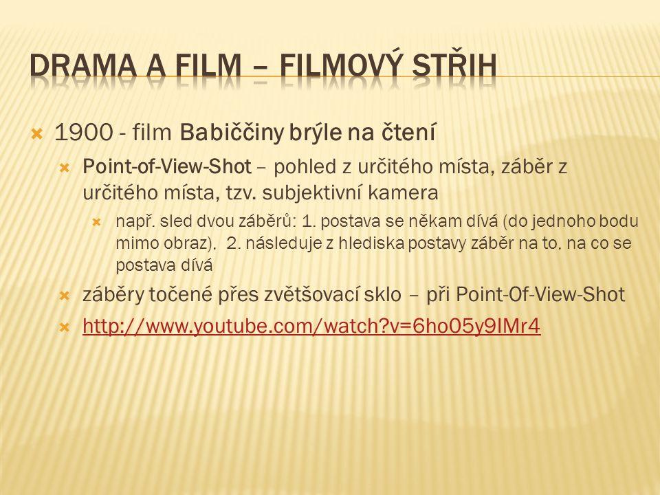 1900 - film Babiččiny brýle na čtení  Point-of-View-Shot – pohled z určitého místa, záběr z určitého místa, tzv.