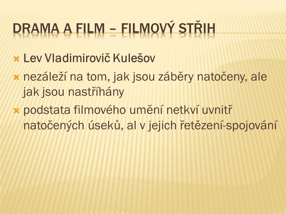  Lev Vladimirovič Kulešov  nezáleží na tom, jak jsou záběry natočeny, ale jak jsou nastříhány  podstata filmového umění netkví uvnitř natočených úseků, al v jejich řetězení-spojování