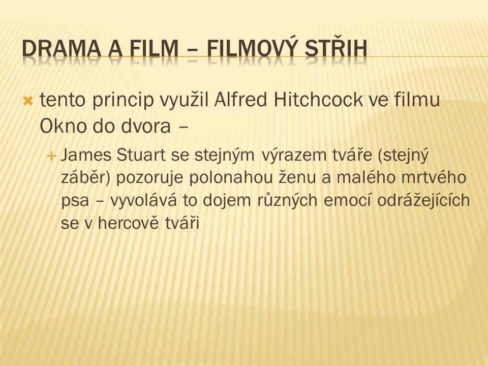  tento princip využil Alfred Hitchcock ve filmu Okno do dvora –  James Stuart se stejným výrazem tváře (stejný záběr) pozoruje polonahou ženu a malého mrtvého psa – vyvolává to dojem různých emocí odrážejících se v hercově tváři