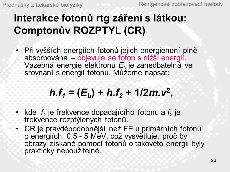 Přednášky z Lékařské biofyziky Rentgenové zobrazovací metody 23 Interakce fotonů rtg záření s látkou: Comptonův ROZPTYL (CR) •Při vyšších energiích fotonů jejich energienení plně absorbována – objevuje se foton s nižší energií.