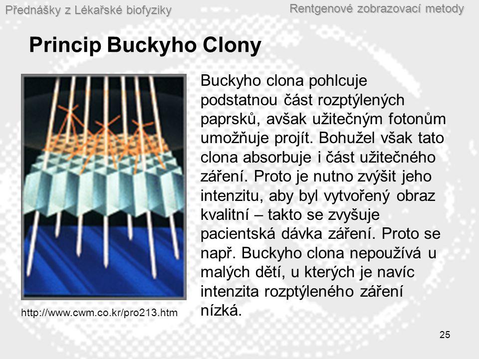Přednášky z Lékařské biofyziky Rentgenové zobrazovací metody 25 Princip Buckyho Clony http://www.cwm.co.kr/pro213.htm Buckyho clona pohlcuje podstatnou část rozptýlených paprsků, avšak užitečným fotonům umožňuje projít.