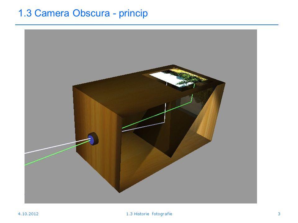 4.10.20121.3 Historie fotografie3 1.3 Camera Obscura - princip