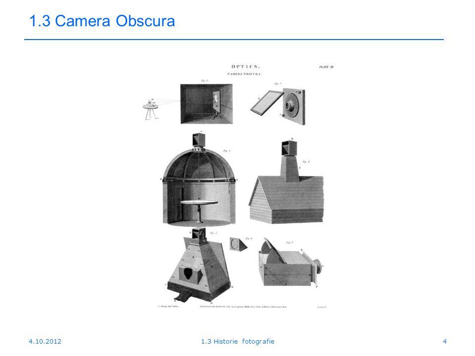 4.10.20121.3 Historie fotografie5 1.3 Camera Obscura