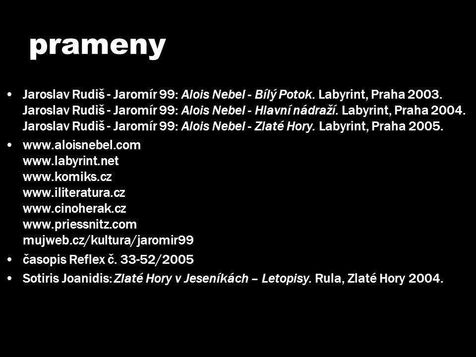 prameny •Jaroslav Rudiš - Jaromír 99: Alois Nebel - Bílý Potok. Labyrint, Praha 2003. Jaroslav Rudiš - Jaromír 99: Alois Nebel - Hlavní nádraží. Labyr